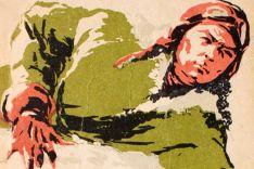 Ilustração de Aleksei Maresiev. Nela ele se arrasta pela neve, após ter seu avião abatido e consegue chegar a uma vila de camponeses soviéticos. Crédito: Pinterest.