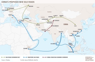 A Nova Rota da Seda Chinesa. Crédito: Council on Foreign Relations