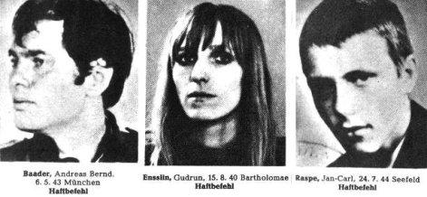 Combinação de imagens de arquivo sem data dos membros da Red Army Faction (RAF) (L-R) Andreas Baader, Gudrun Ensslin e Jan-Carl Raspe. Crédito: New Europe.