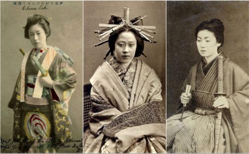 Onna-bugeisha (女武芸者) é a denominação da mulher japonesa com treinamento em artes marciais e armas para combate. Crédito: Medium.