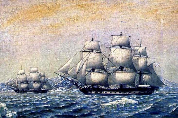 O navio de Bellingshausen, Vostok, descobriu o continente da Antártica. Crédito: http://www.saint-petersburg.com/