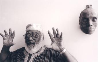 Abdias Nascimento , 1997. Crédito: Luiz Paulo Lima/ Enciclopédia Itaú Cultural.
