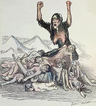 Cartoon denunciando o extermínio de crianças bôeres nos campos de concentração britânico. Crédito: https://ensinarhistoriajoelza.com.br/imperio-britanico-livros-didaticos/
